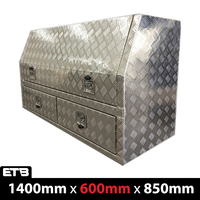 1400x600x850mm Checker Plate Half Open with 2 Drawers Toolbox